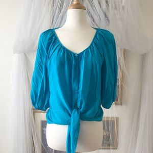 Turquoise Blouse with with billowy sleeves